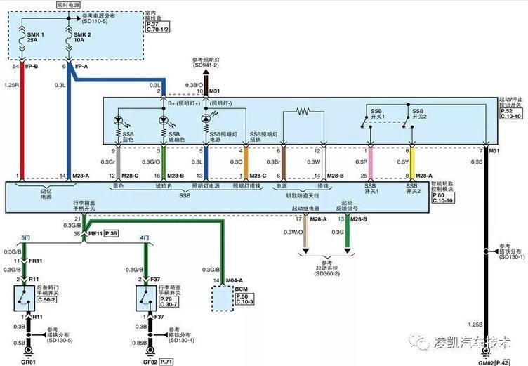 图2-智能钥匙控制模块供电和启动/停止按钮开关电路图